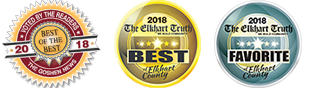 Voted by the readers, the best of the best, 2018, by the Goshen News. The Elkhart Truth, voted the best of Elkhart County, 2018. Voted the Favorite of Elkhart County by The Elkhart Truth, 2018.